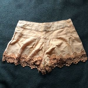 Free People Mango Linen Crochet Trim Tap Shorts 0